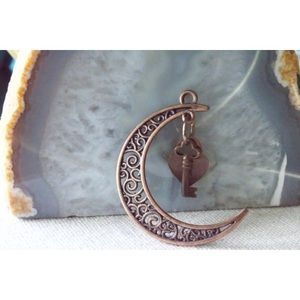 Antique copper crescent moon and key necklace